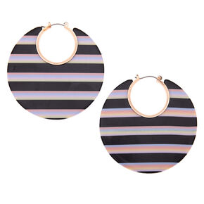 Rose Gold 55MM Striped Thick Hoop Earrings - Black,
