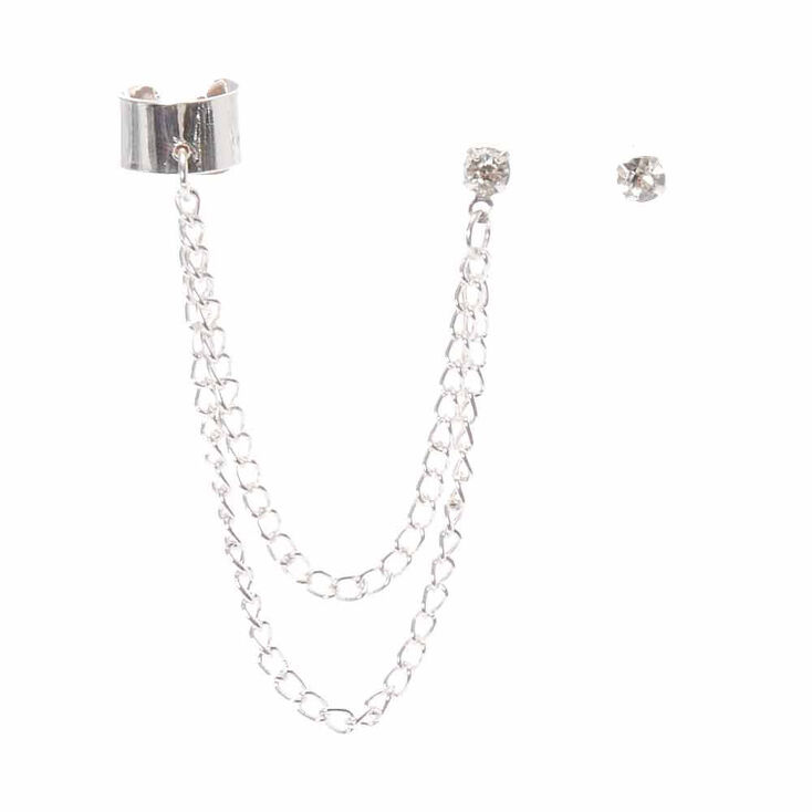 Silver Connector Earrings,