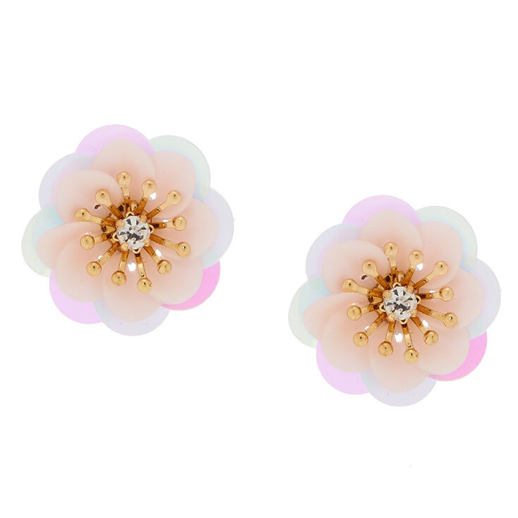 Sequin Iridescent Flower Stud Earrings - Blush,