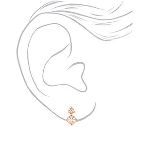 Rose Gold Rhinestone Classic Jewelry Set - 2 Pack,
