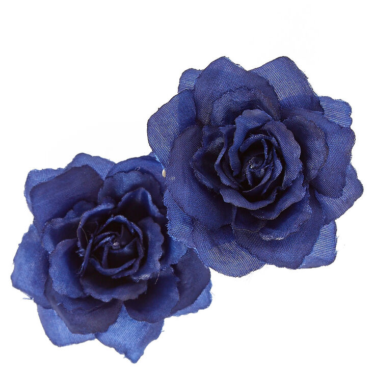 Shabby Rose Hair Clips - Blue, 2 Pack,