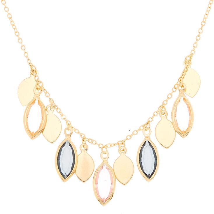 Gold Shine Leaf Statement Necklace,