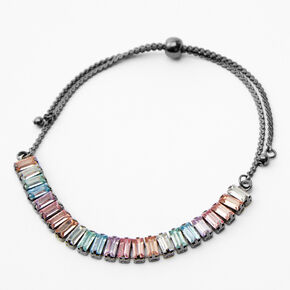 Hematite Rectangle Rainbow Bar Adjustable Chain Bracelet,