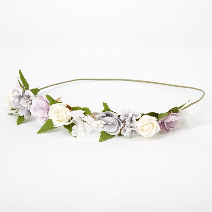 Gold Leaf Flower Crown Headwrap - Blue,