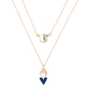 Rose Gold Geometric Marble Pendant Necklaces - 2 Pack,