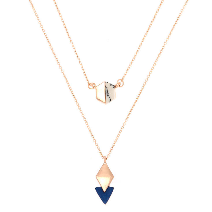 Rose Gold Geometric Marble Statement Necklace - 2 Pack,