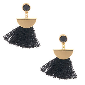 "Gold 1.5"" Tassel Drop Earrings - Black,"