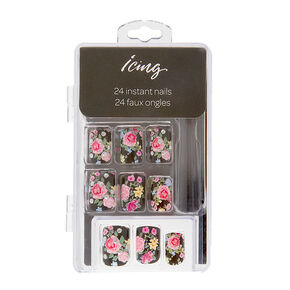 Black with Pink & Yellow Floral Print Instant Nails,