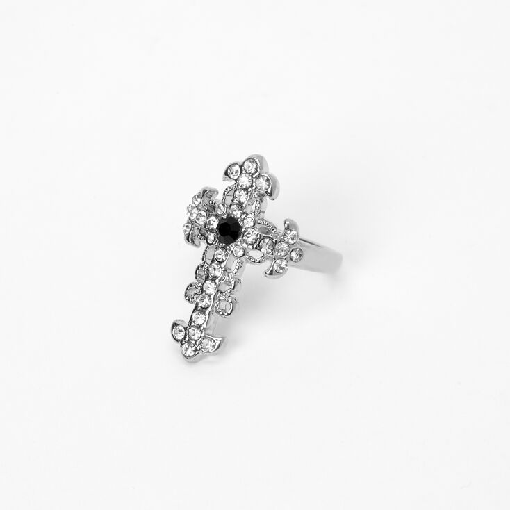 Silver Embellished Cross Statement Ring,