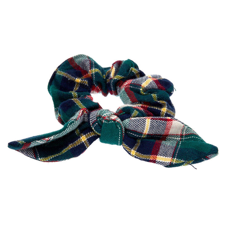 Small Green & Red Plaid Knotted Bow Hair Scrunchie,