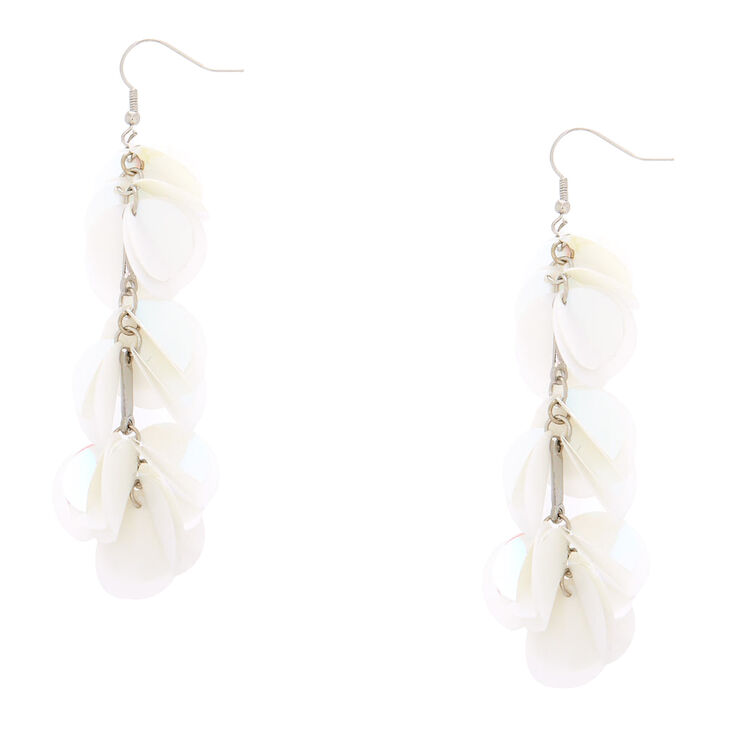 """3.5"""" Holographic Confetti Drop Earrings - White,"""