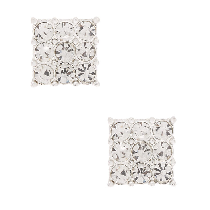 Silver Rhinestone Square Stud Earrings,