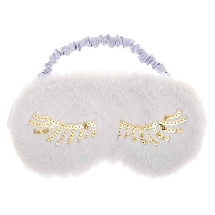 Plush Sequin Eyelash Sleeping Mask - Gray,