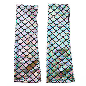 Holographic Mermaid Fingerless Gloves - Silver,