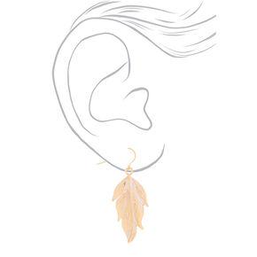 Gold Feather Drop Earrings,