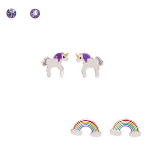 Sterling Silver Rainbow Unicorn Dreams Stud Earrings - 3 Pack,