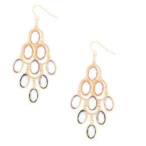 """Gold 2.5"""" Pastel Stone Chandelier Drop Earrings,"""