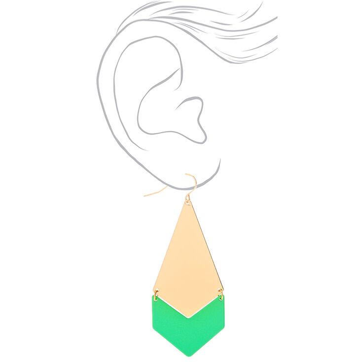 """Gold 2.5"""" Geometric Drop Earrings - Neon Green,"""