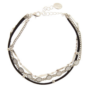 Black Suede Moon Stone Anklet,