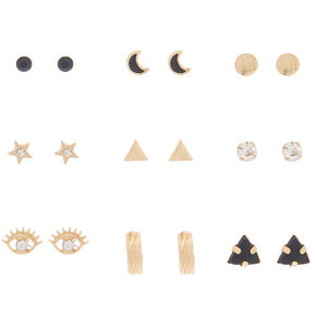 Gold Celestial Stud Earrings - Black, 9 Pack,