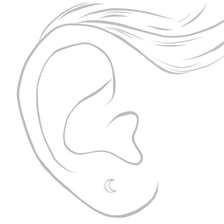 Sterling Silver Open Moon Stud Earrings,