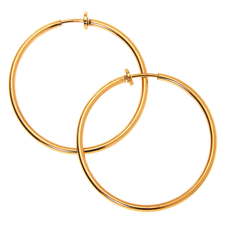 Vintage Style Jewelry, Retro Jewelry Icing Gold 40MM Clip On Hoop Earrings $7.99 AT vintagedancer.com