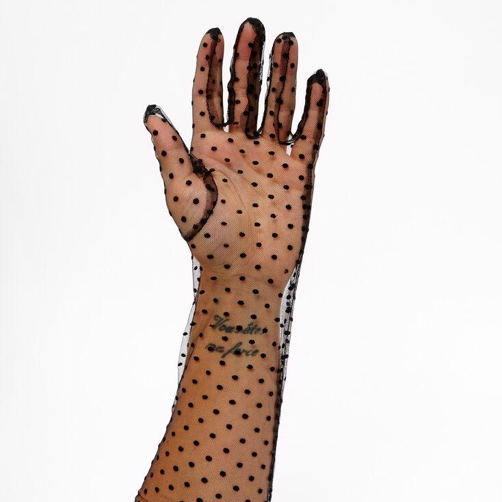 Vintage Style Gloves- Long, Wrist, Evening, Day, Leather, Lace Icing Long Polka Dot Lace Gloves - Black $9.99 AT vintagedancer.com