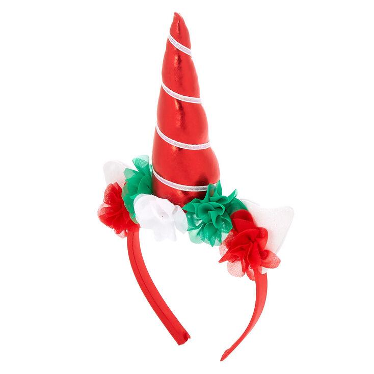 Christmas Unicorn Floral Headband - Red,