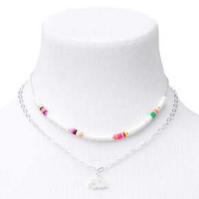 Silver Rainbow Disc Pendant Chain Necklaces - White, 2 Pack,