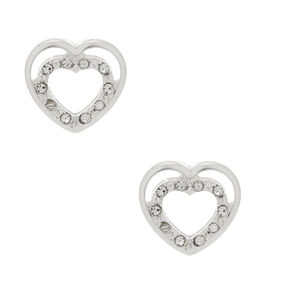Silver Heart Stud Earrings,