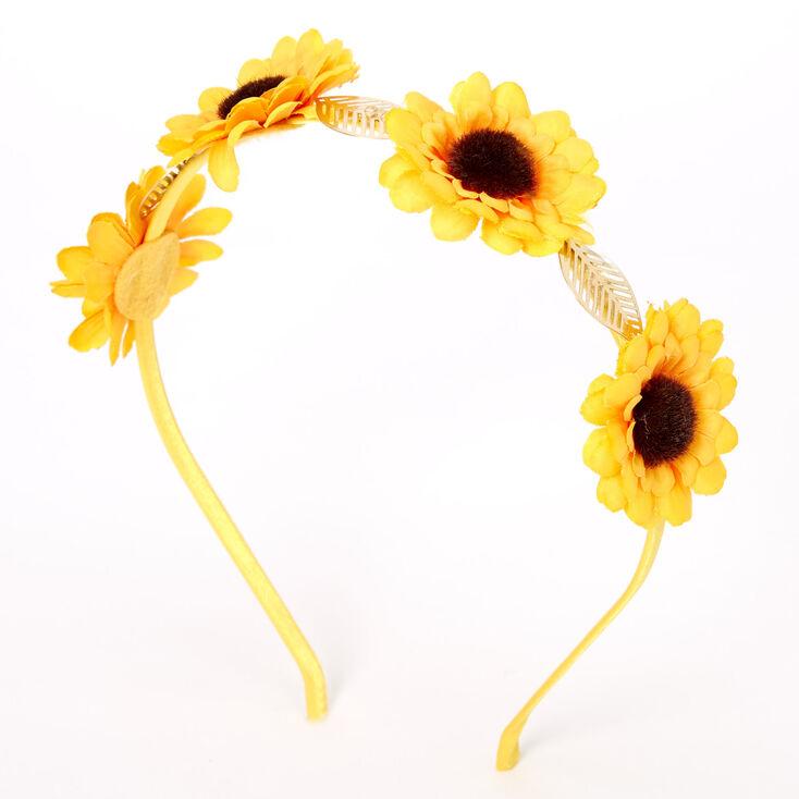 Sunflower Golden Leaf Flower Headband - Yellow,