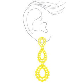 """3"""" Filigree Teardrop Drop Earrings - Yellow,"""