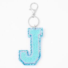 Blue Varsity Initial Keychain - J,