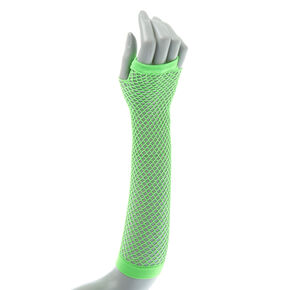 Neon Green Fishnet Arm Warmers,