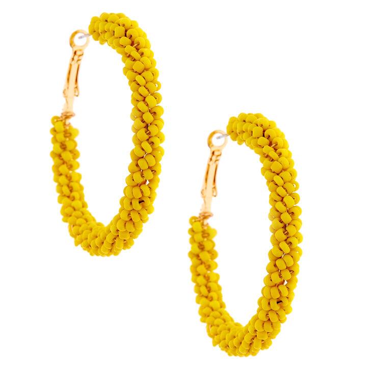 Gold 50MM Beaded Hoop Earrings - Yellow,