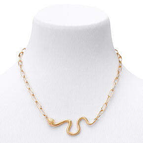 Gold Snake Chunky Chain Statement Necklace,
