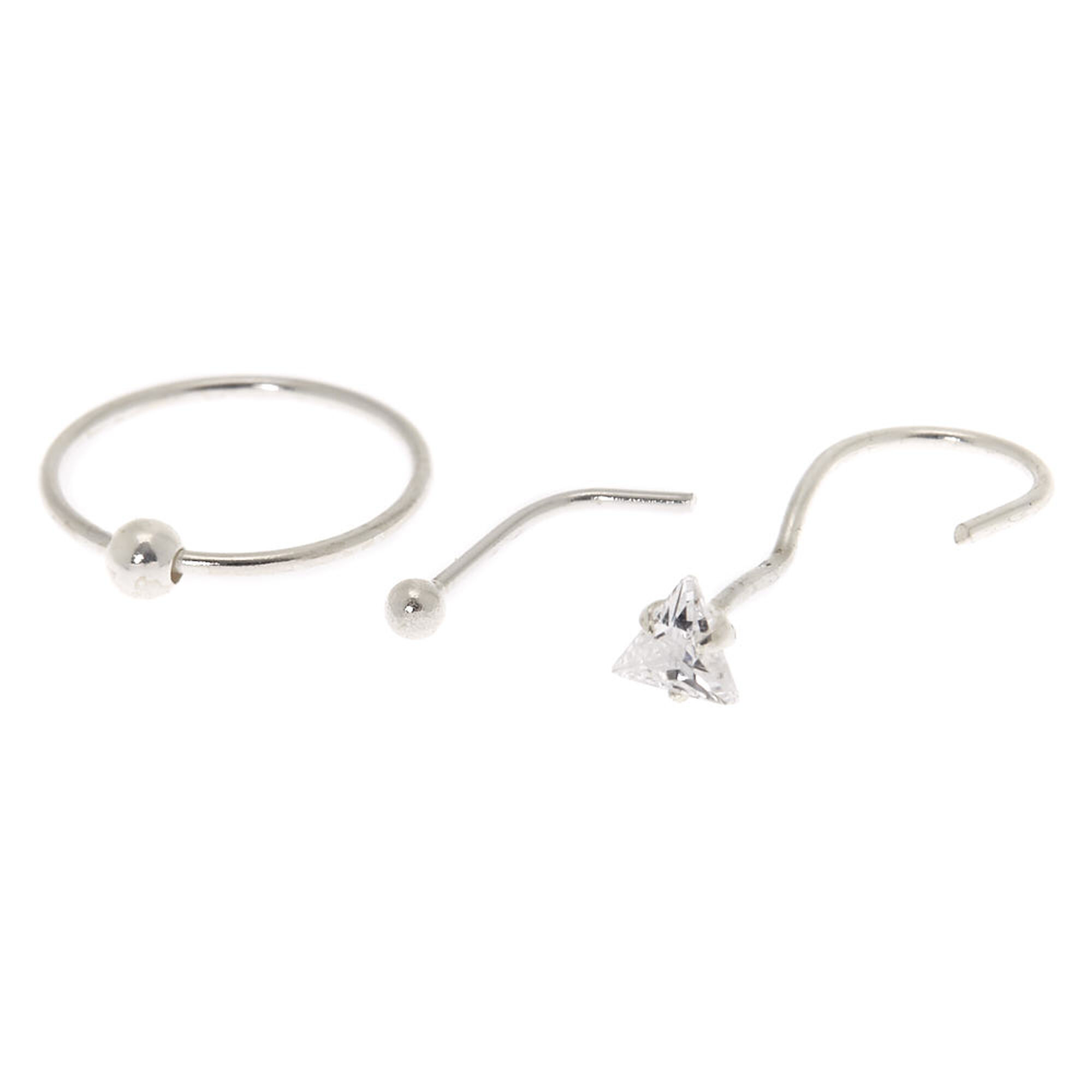Sterling Silver 22g Nose Studs Ring 3 Pack