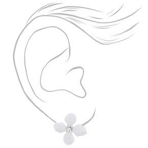 Silver Flower Stud Earrings - White,