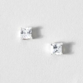 Sterling Silver Square Diamondite Studs,