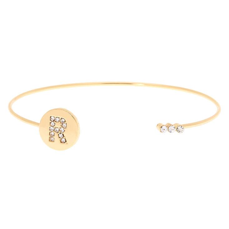 Gold Initial Cuff Bracelet - R,