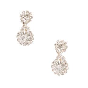Halo Crystal Clip On Drop Earrings,