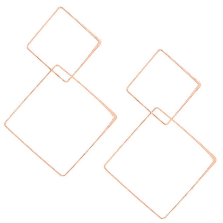 Rose Gold-Tone Geometric Diamond Drop Earrings,