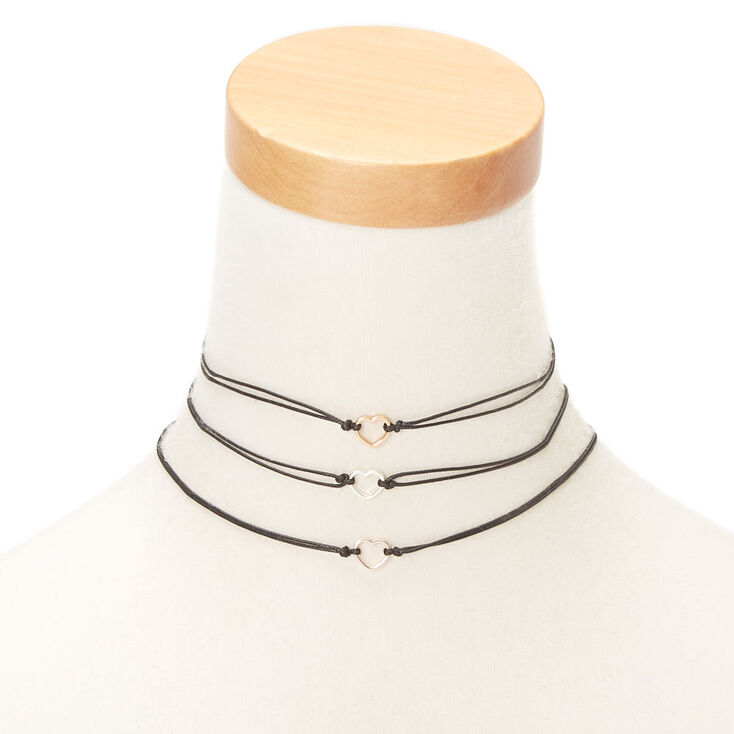 Mixed Metal Heart Choker Necklaces - 3 Pack,