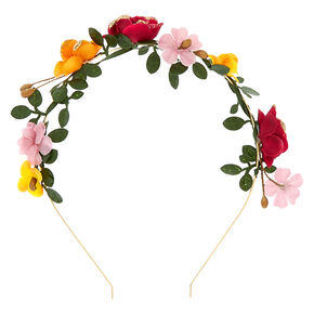 Gold Floral Garland Headband - Burgundy,