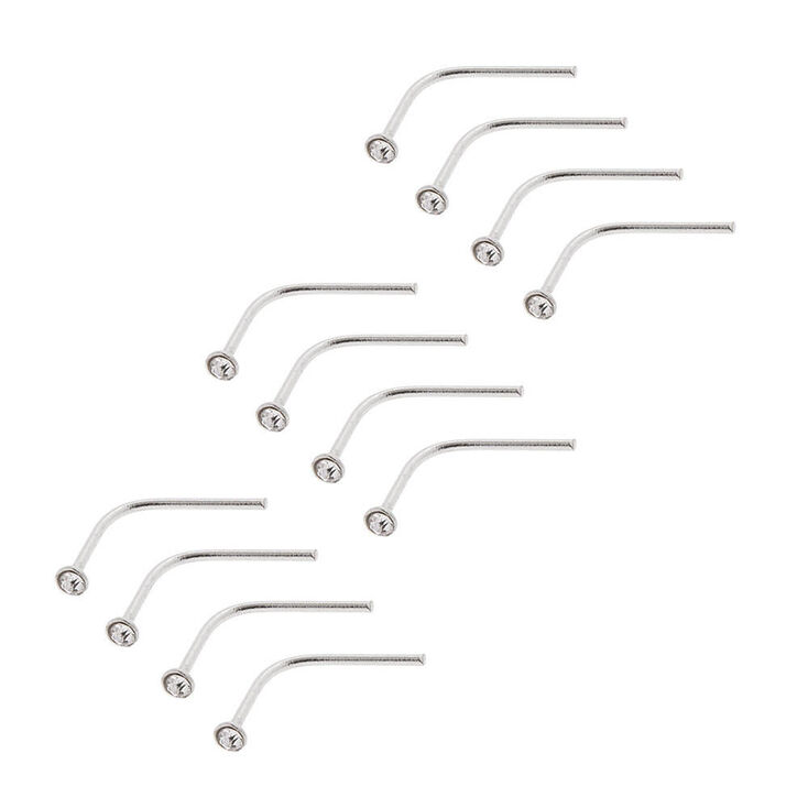 Sterling Silver 20G Nose Studs - 12 Pack,