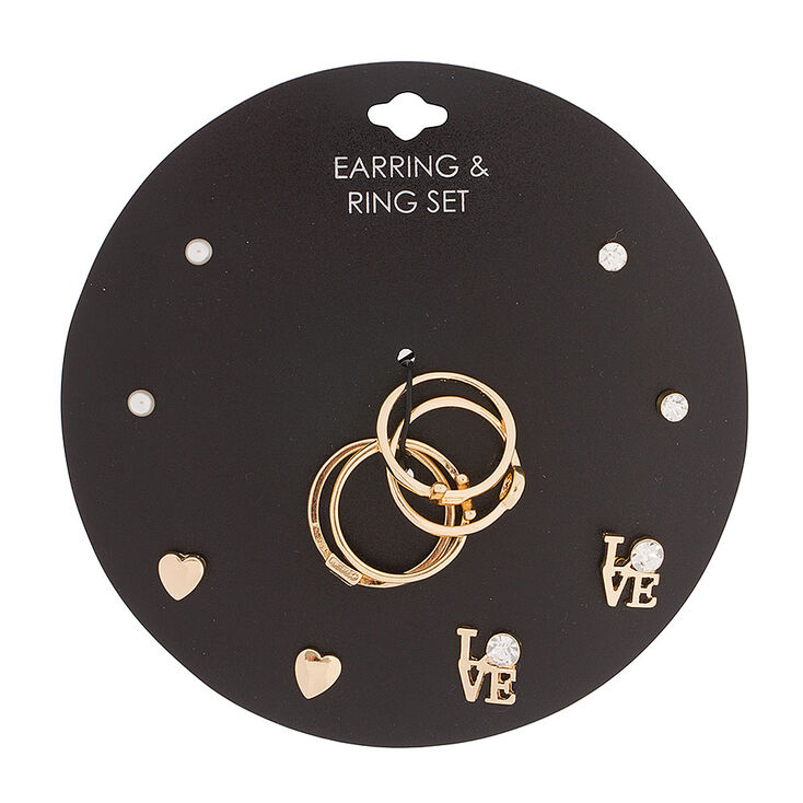 Romantic Love Earrings & Rings Jewelry Set,
