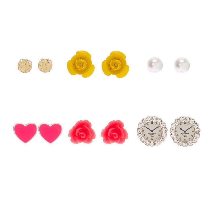 Silver Chic Stud Earrings - 6 Pack,