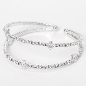 Silver Rhinestone Double Row Cuff Bracelet,