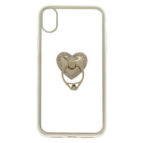 Heart Ring Stand Phone Case - Silver,