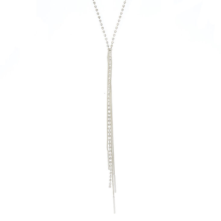 Silver Embellished Y-Neck Statement Necklace,